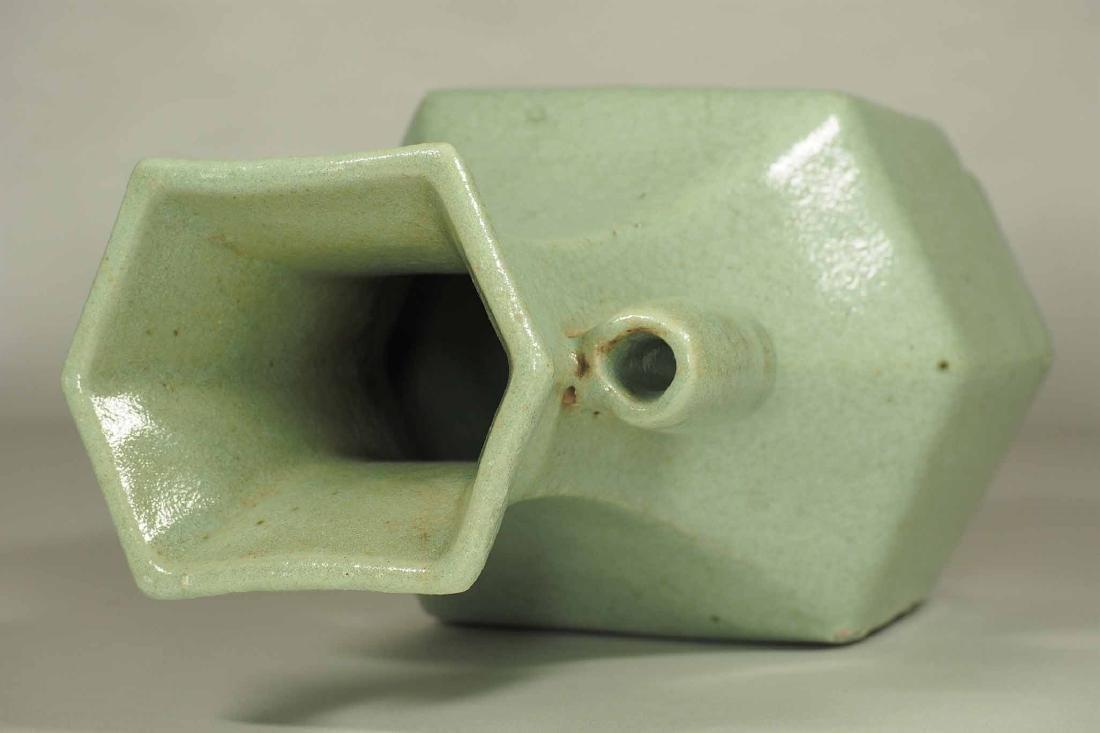 Celadon Crackled Hu-Form Vase, Ming Dynasty - 7