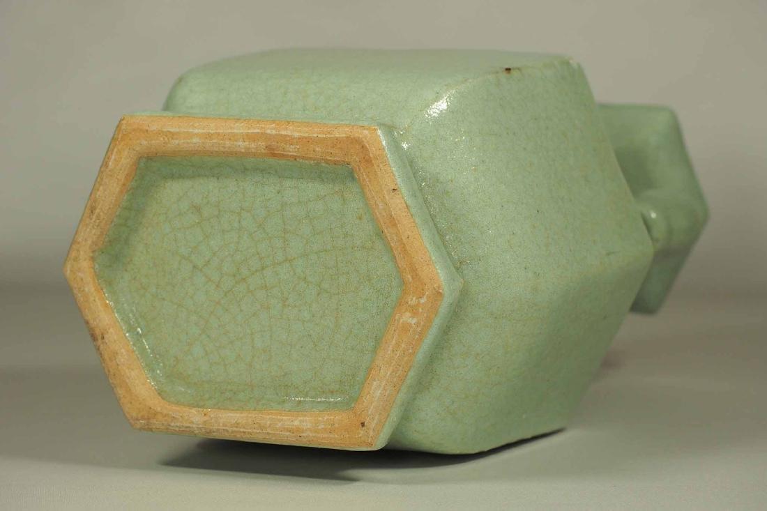 Celadon Crackled Hu-Form Vase, Ming Dynasty - 8