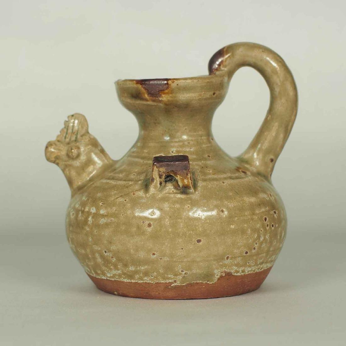 Yue Chicken Head Ewer Water Pot with Brown Spot,