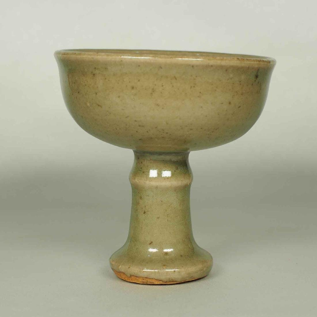 Celadon Stemcup with Incised Lotus Design, Yuan Dynasty
