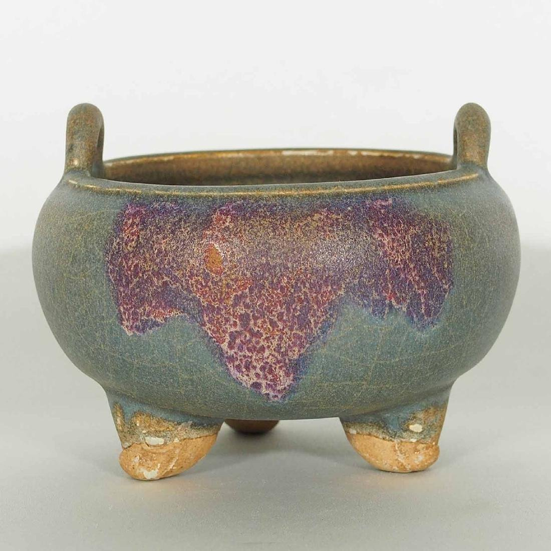 Jun Alms-Bowl form Tripod Censer, Yuan Dynasty