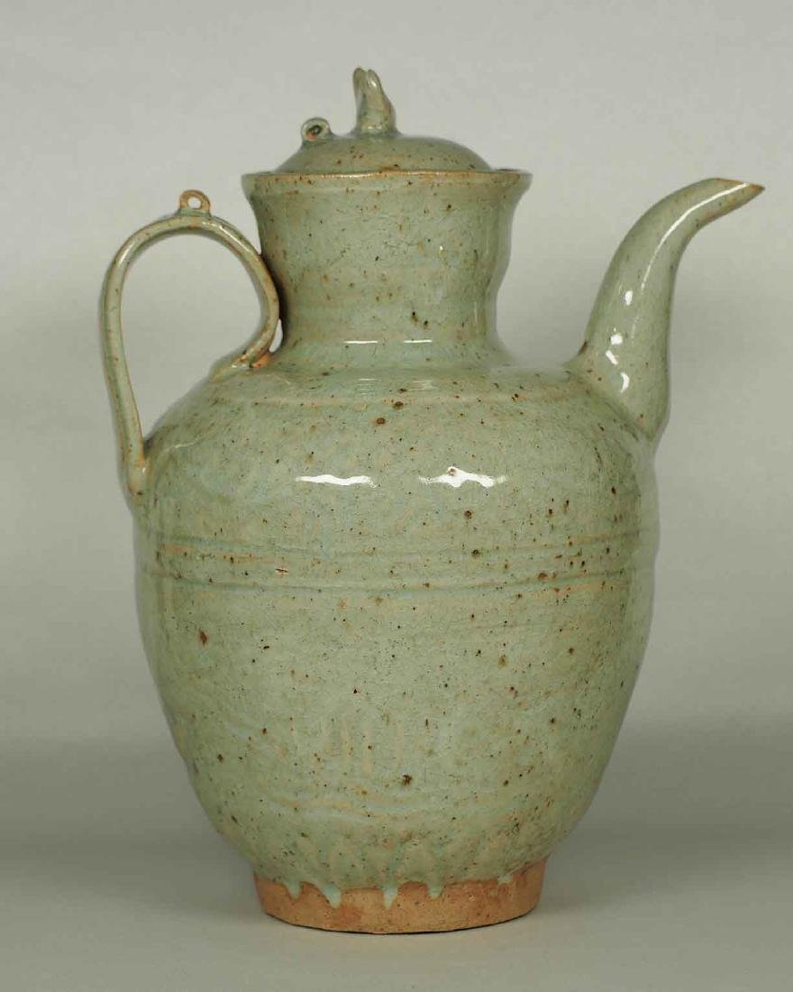 Qingbai Lidded Ewer with Impressed Molded Motif, Yuan