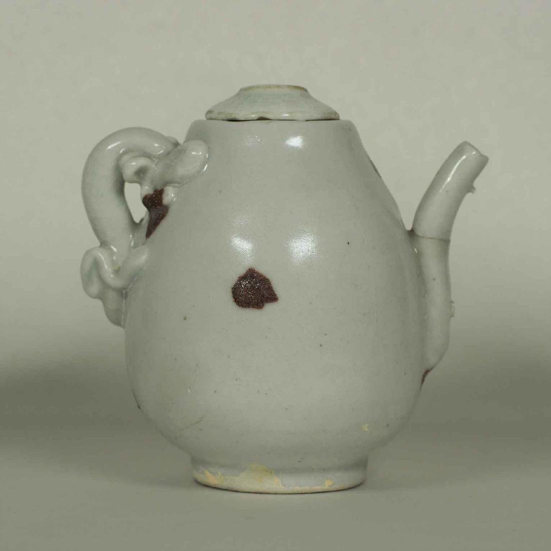 Ewer with Dragon Handle and Brown Spots, Yuan Dynasty