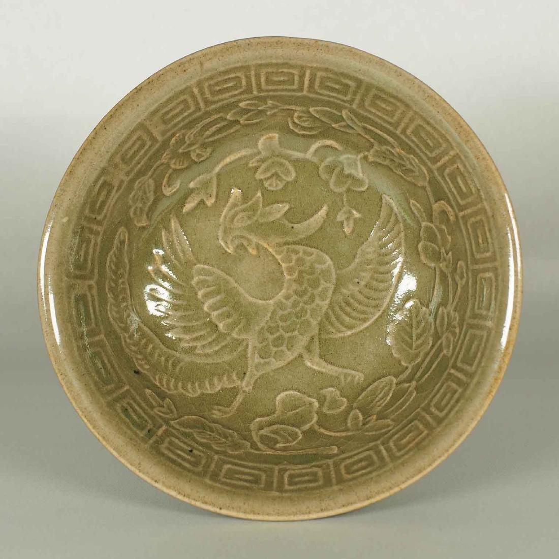 Yaozhou Celadon Stemcup with Impressed Phoenix, Jin - 4