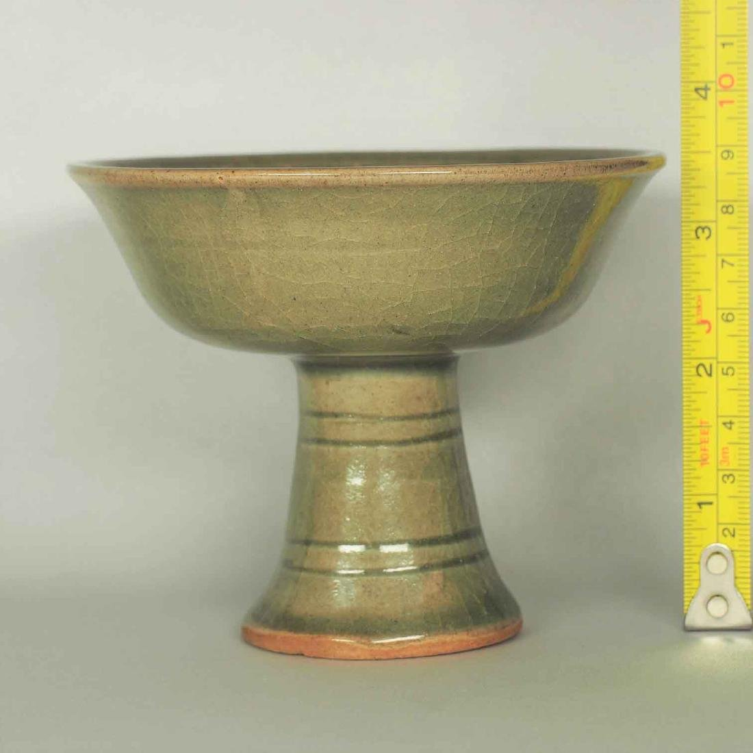 Yaozhou Celadon Stemcup with Impressed Phoenix, Jin - 9