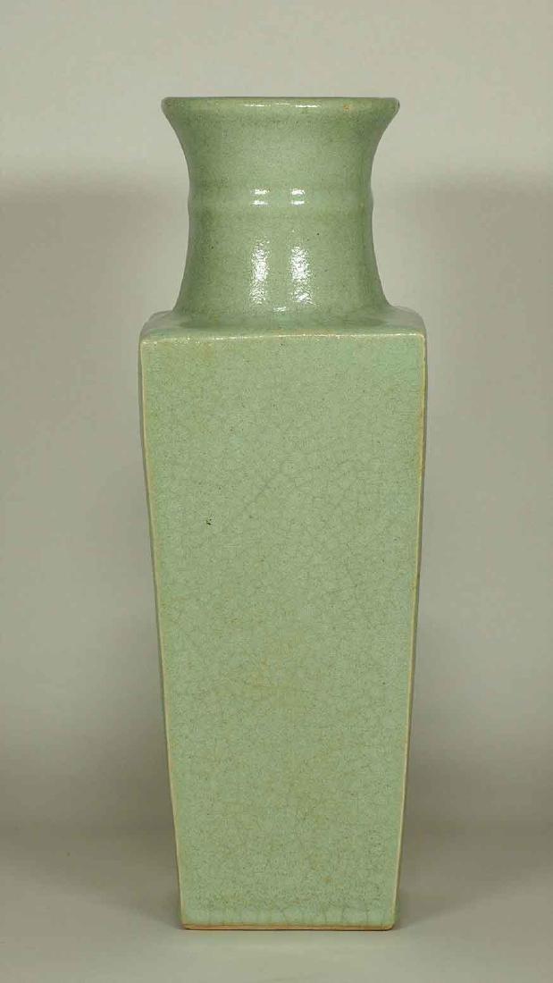 Celadon Square Crackled Vase, Ming Dynasty