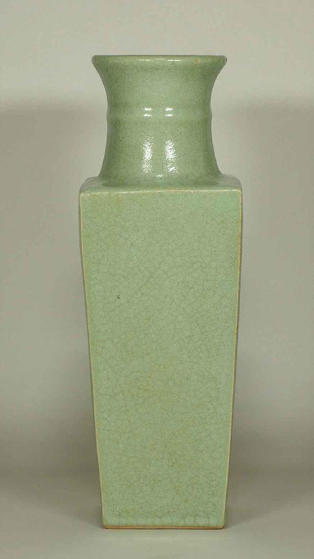 Celadon Square Crackled Vase, Ming Dynasty