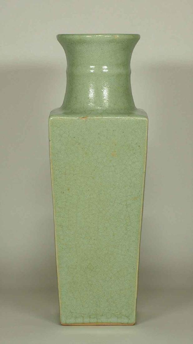 Celadon Square Crackled Vase, Ming Dynasty - 2