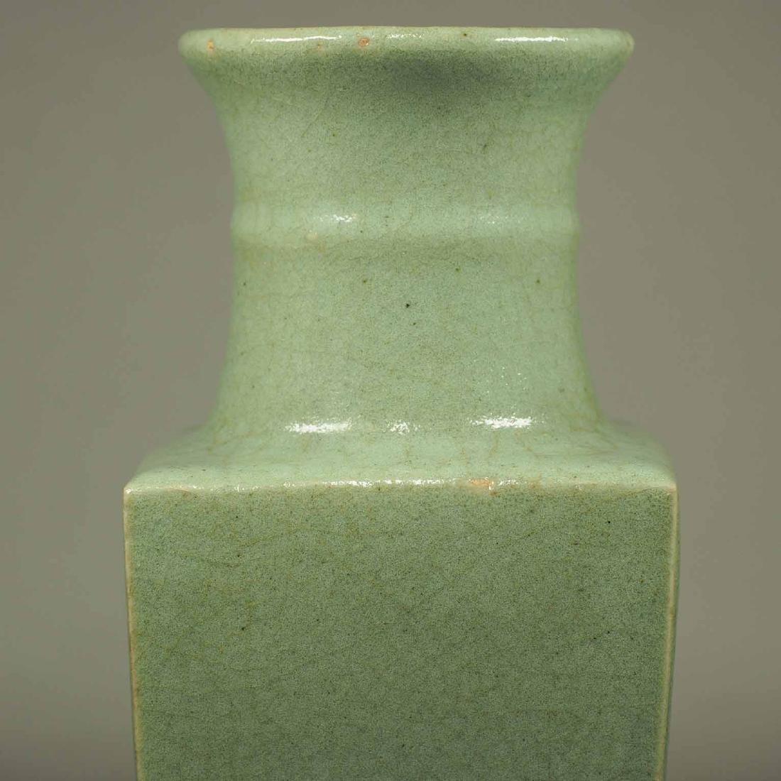 Celadon Square Crackled Vase, Ming Dynasty - 6