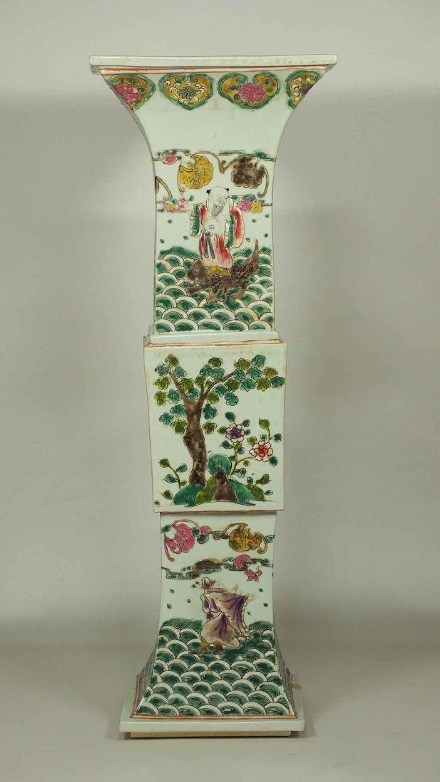 Square Gu-Form Vase, Tongzhi Period, Qing Dynasty - 3