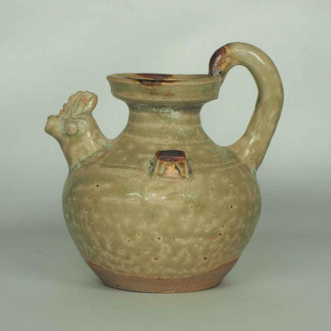 Yue Chicken Head Ewer Water Pot with Brown Spot,