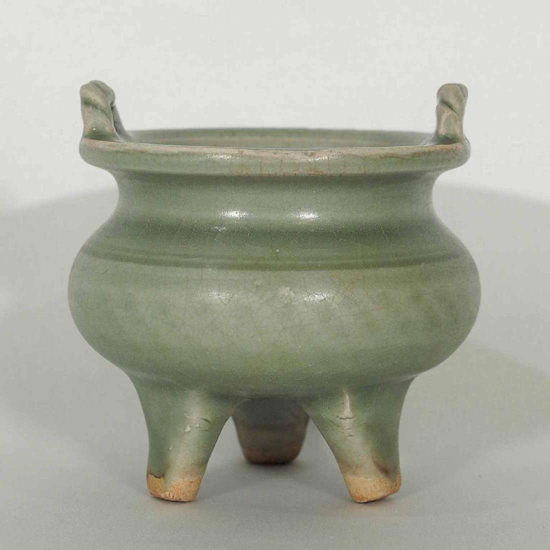 Longquan Tripod Censer with Twisted Handle, Yuan - 2