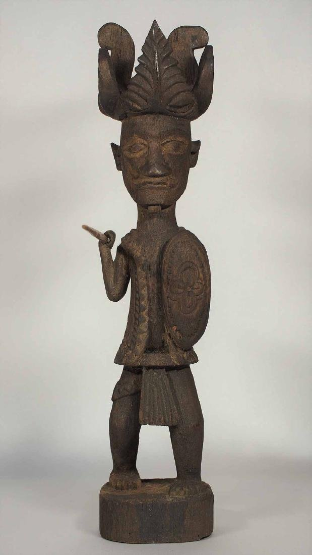 Wooden Statue Warrior with Spear and Shield, Nias