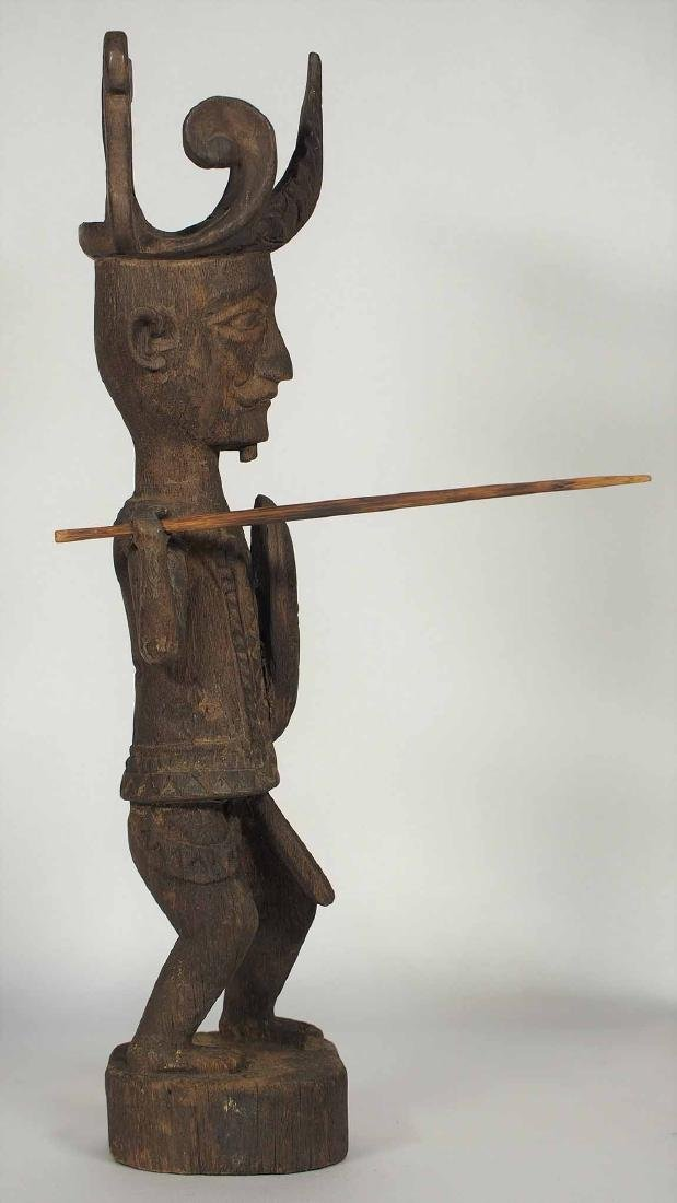 Wooden Statue Warrior with Spear and Shield, Nias - 2