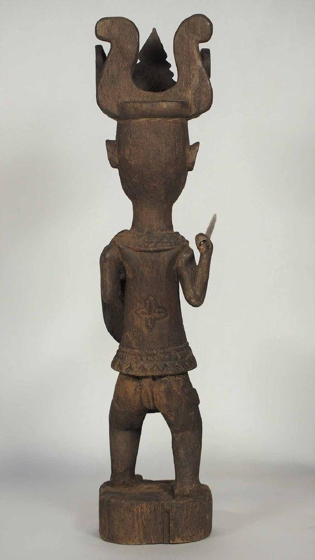 Wooden Statue Warrior with Spear and Shield, Nias - 3
