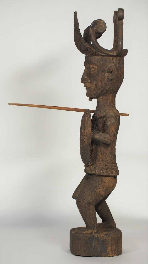 Wooden Statue Warrior with Spear and Shield, Nias - 4