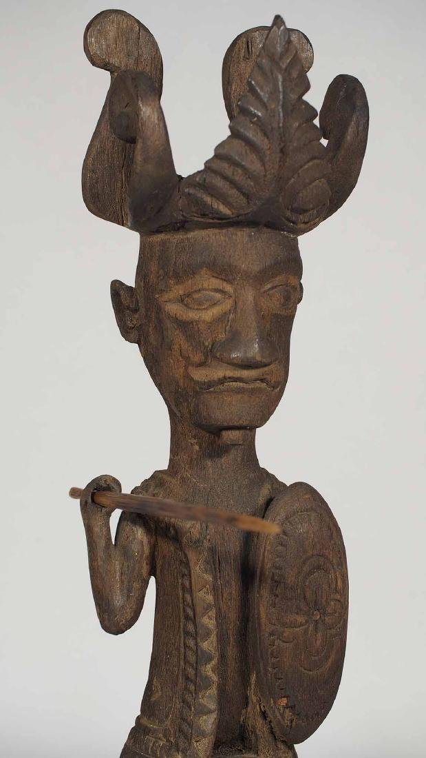 Wooden Statue Warrior with Spear and Shield, Nias - 5