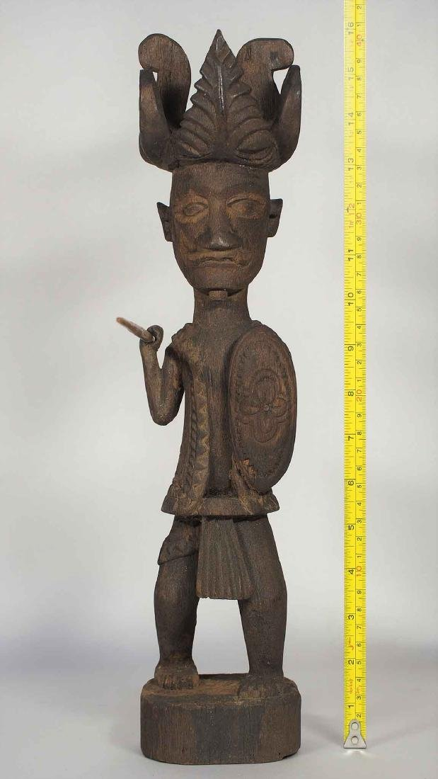 Wooden Statue Warrior with Spear and Shield, Nias - 6