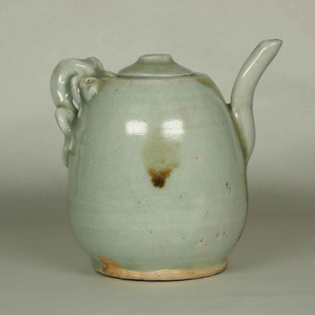 Ewer with Dragon Handle and Brown Spots, Yuan-early