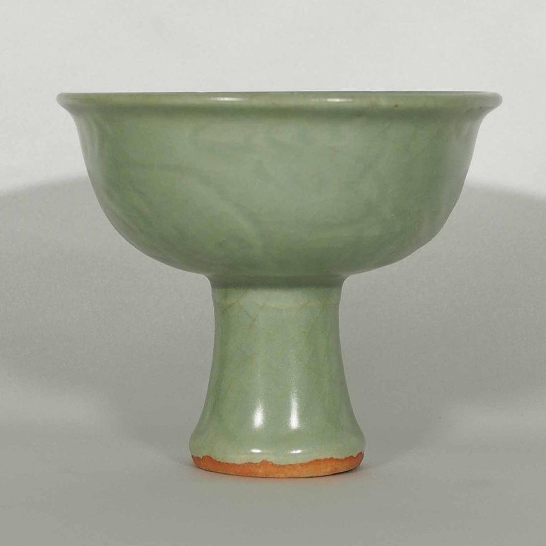 Longquan Stemcup with Incised Design, Yuan-early Ming