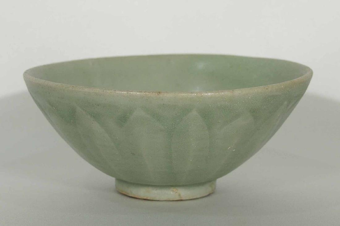 Longquan Bowl with Carved Lotus Petal Design, Yuan