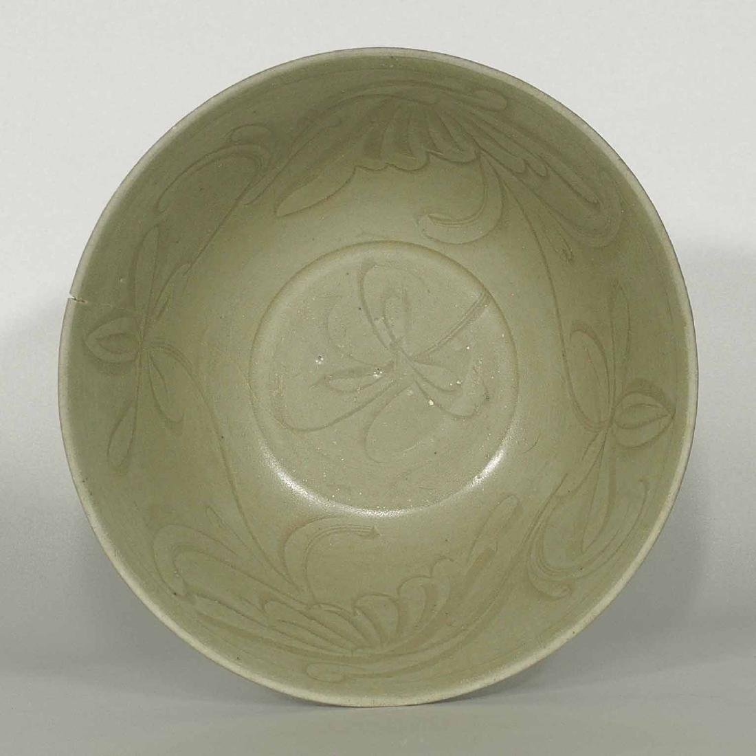 Large Yue Celadon Bowl with Incised Design, Ming