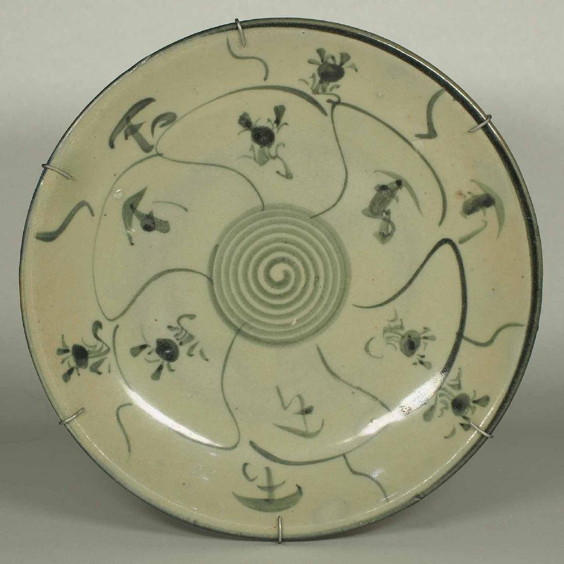 Plate with Abstract Swirl and Floral Design, late Ming