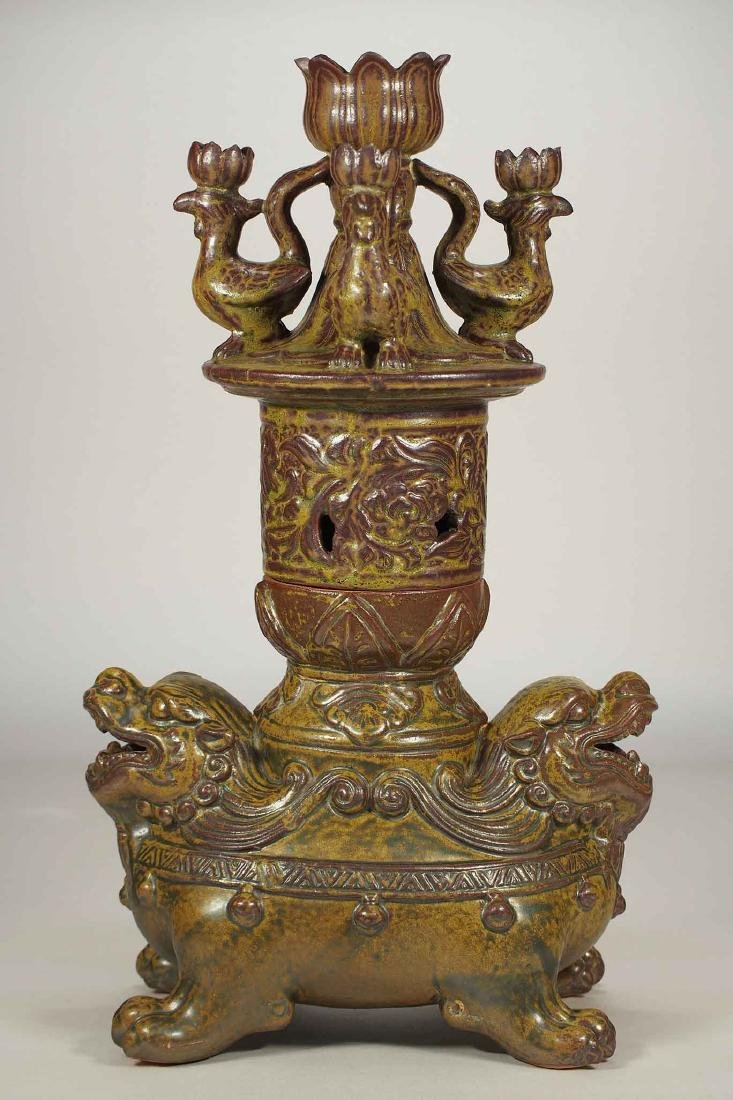 Large Lamp with Moulded Lotus, Qilin and Phoenix, late