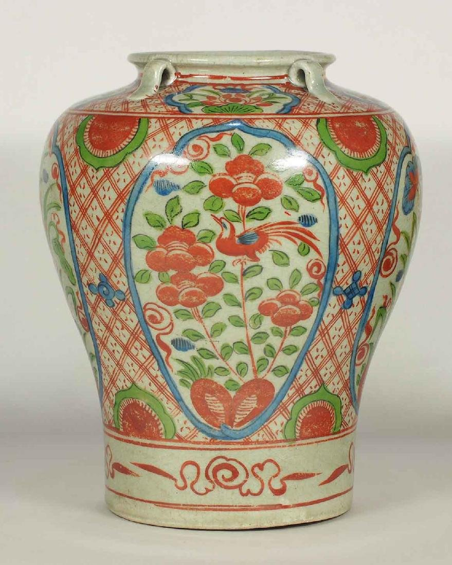 Wucai Jar with Four Lugs and Flower Design, late Ming