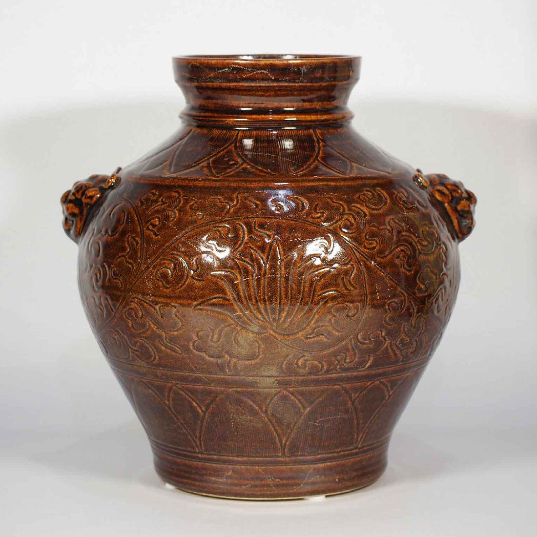 Lion-Head Handled Jar with Carved Peony Design,