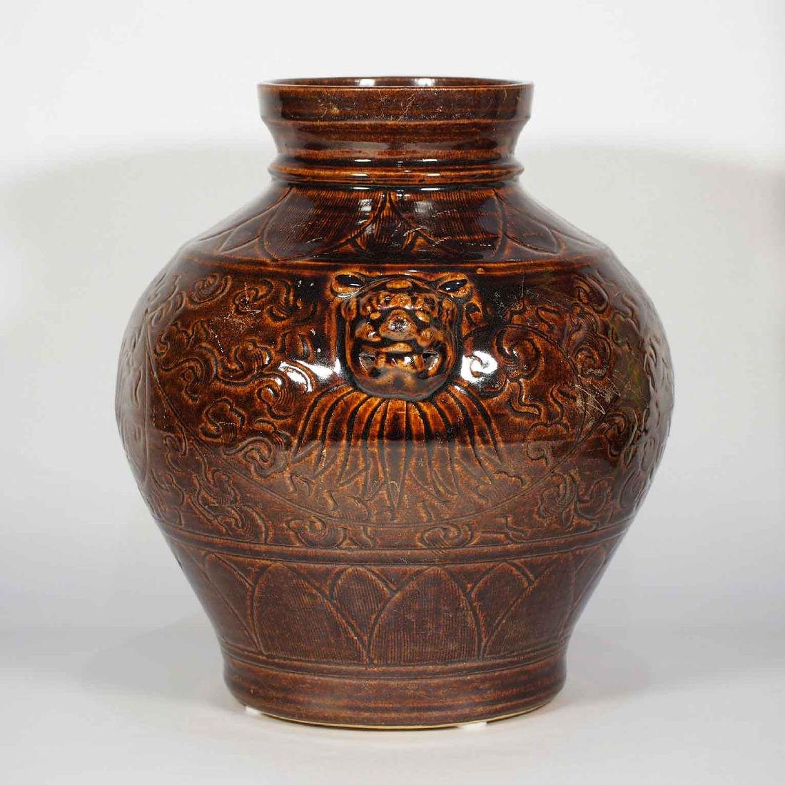 Lion-Head Handled Jar with Carved Peony Design, - 2