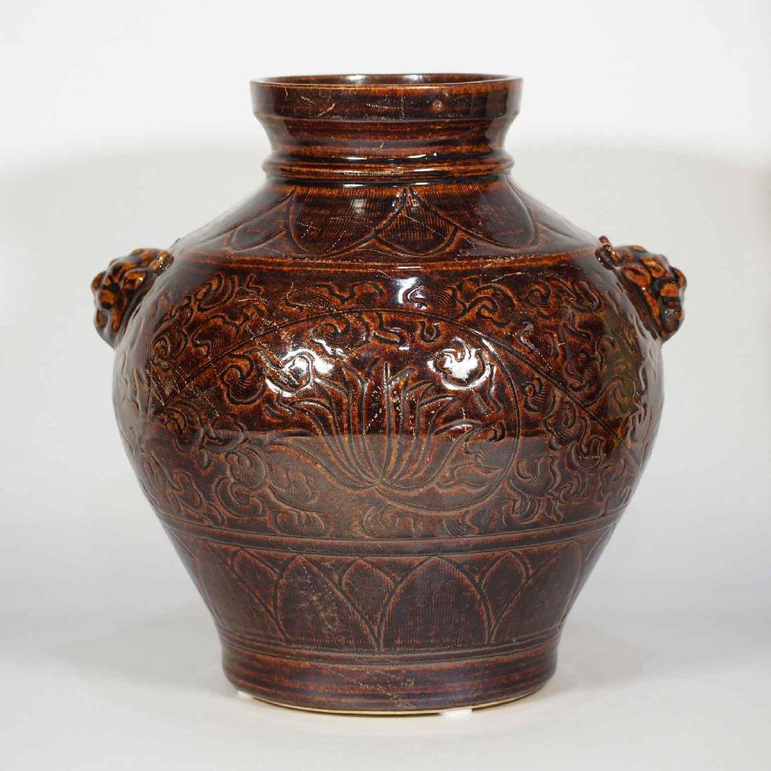 Lion-Head Handled Jar with Carved Peony Design, - 3