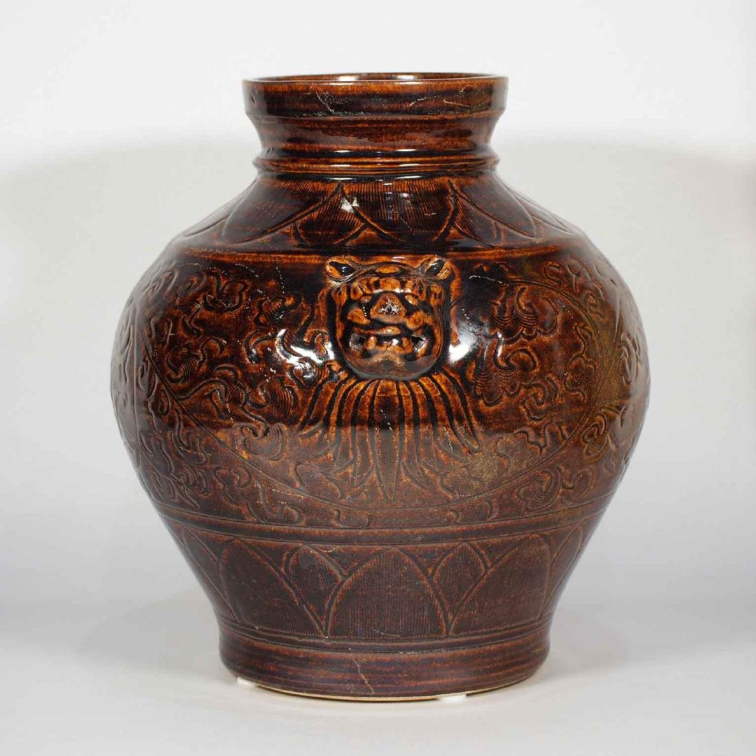 Lion-Head Handled Jar with Carved Peony Design, - 4
