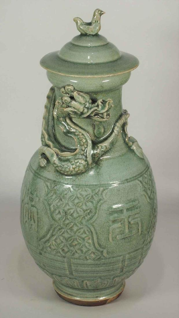 Large Lidded Funerary Urn with Dragon, early Yuan