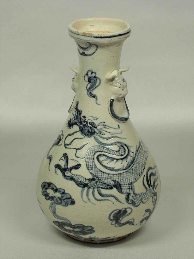 Lion-Head Handle Bottle Vase with Dragon, Annamese