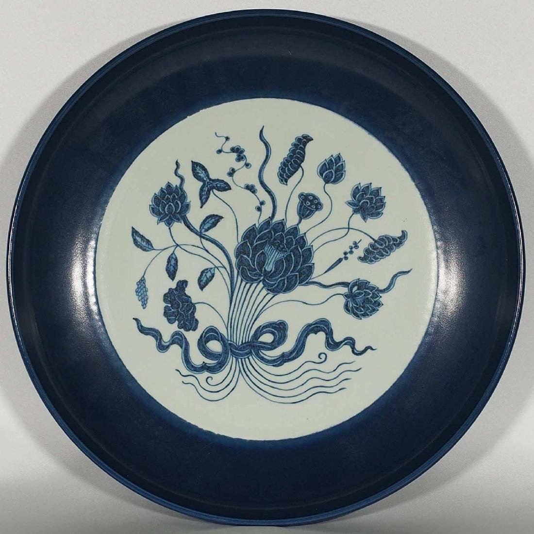Blue-rim Charger with Floral Bouquet, Yongle Period,