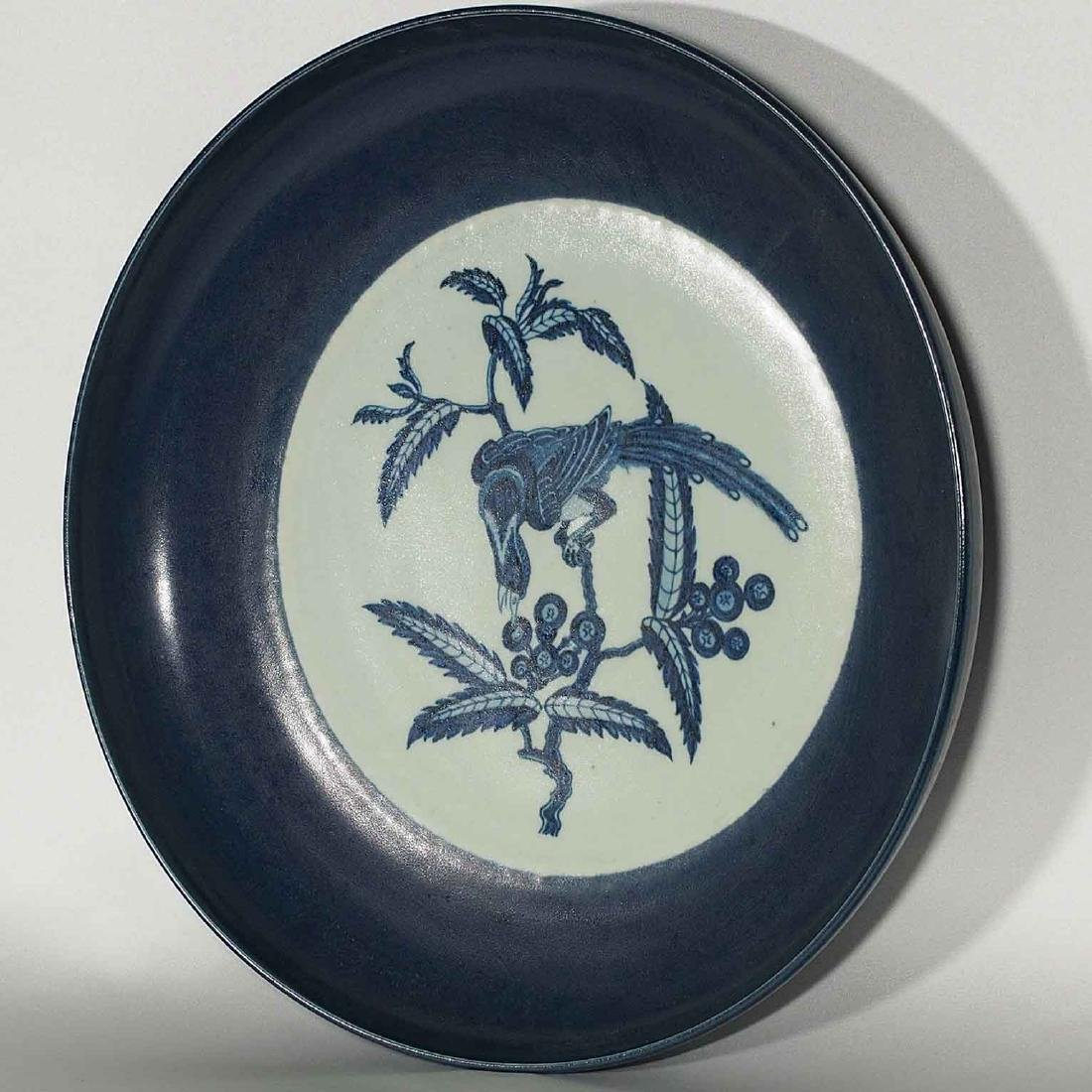 Blue-rim Charger with Bird on Berry Tree, Yongle - 3