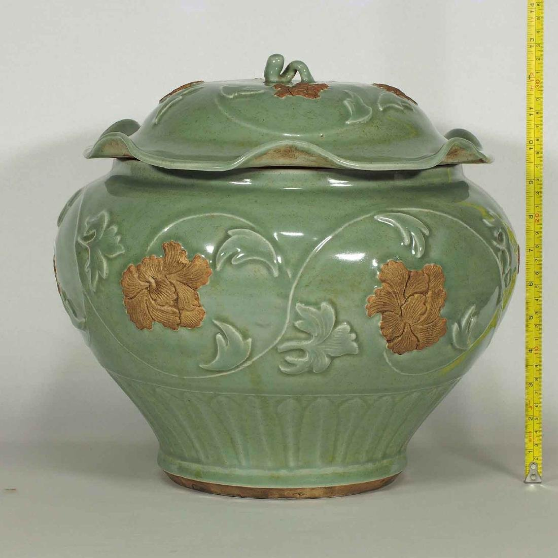 Longquan Jar with Biscuit-Decorated Peony, Yuan-early - 14