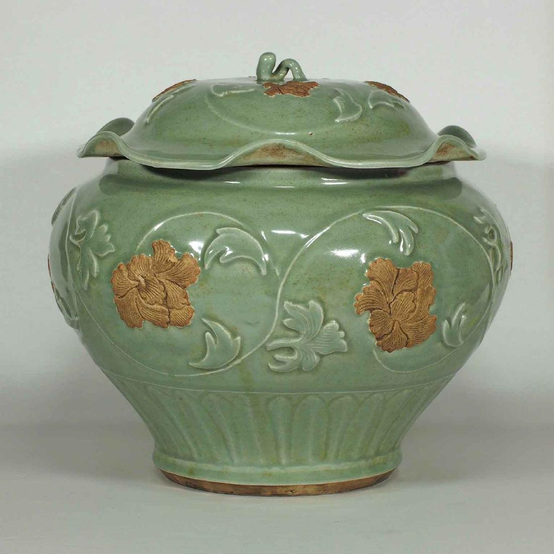 Longquan Jar with Biscuit-Decorated Peony, Yuan-early