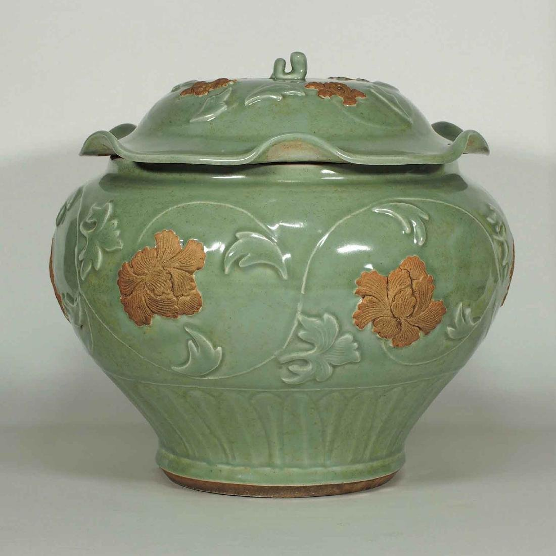Longquan Jar with Biscuit-Decorated Peony, Yuan-early - 2