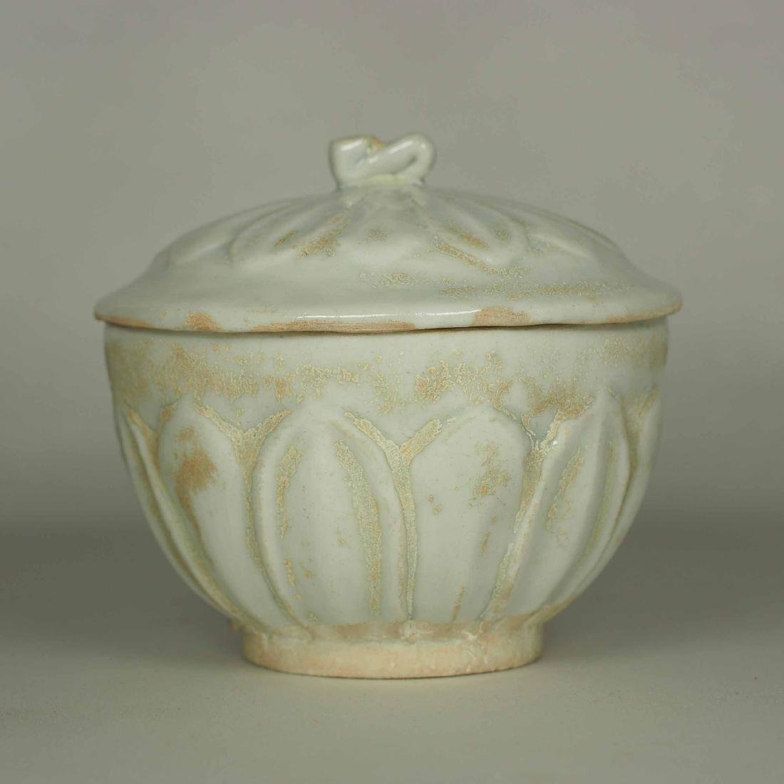 Qingbai Small Lidded Jar with Moulded Lotus, Song - 2