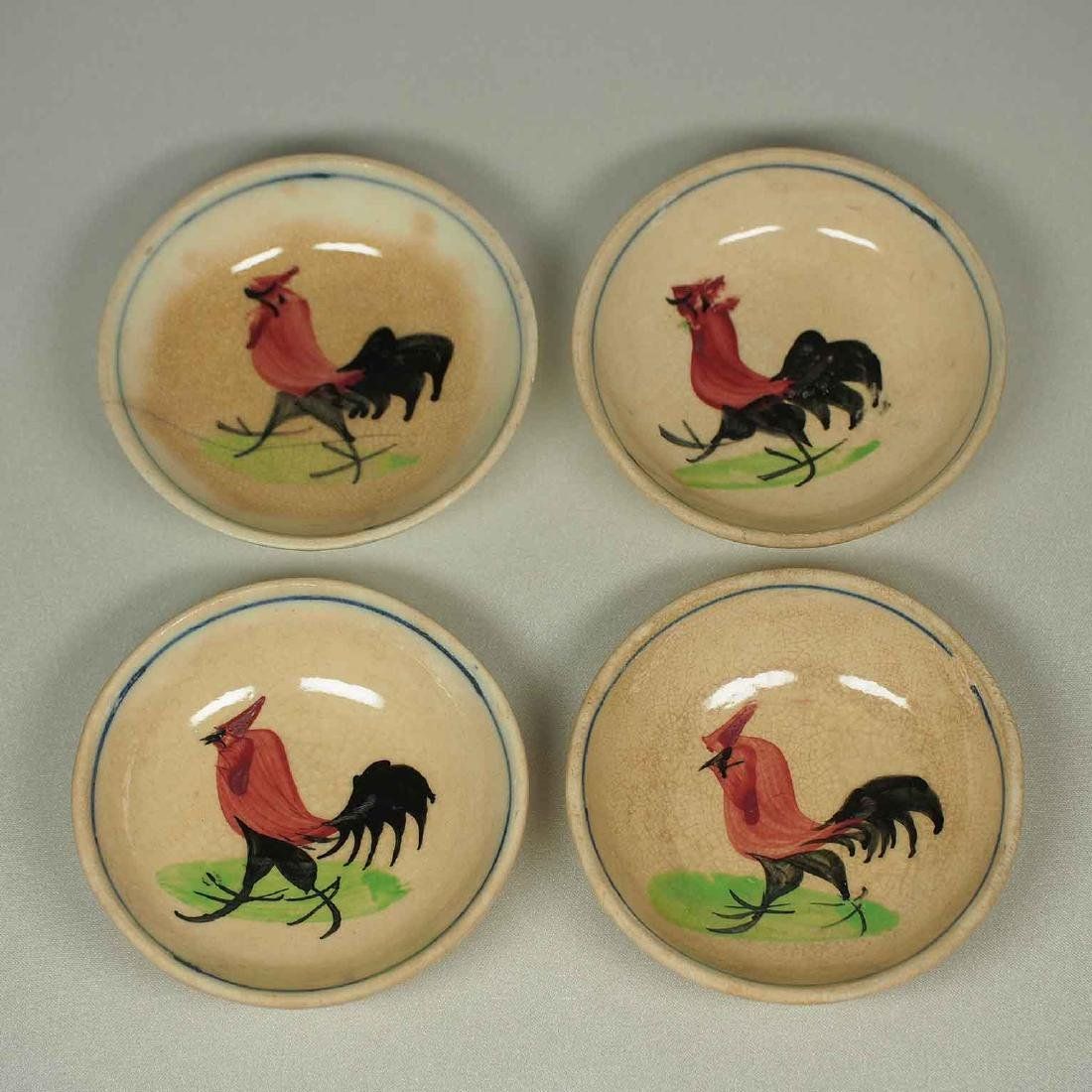 Set of 4 Sauce Dishes with Rooster Design, early 20th