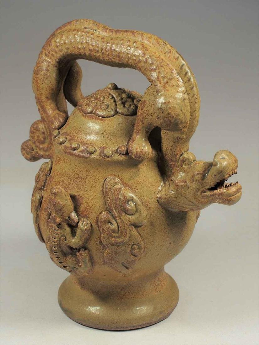 Celadon Reverse-Flow Ewer with Dragon Handle, Eastern