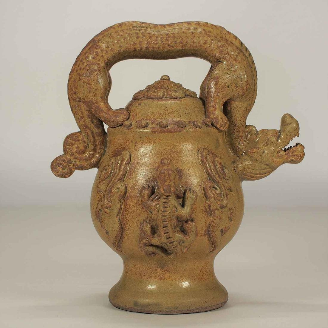 Celadon Reverse-Flow Ewer with Dragon Handle, Eastern - 2