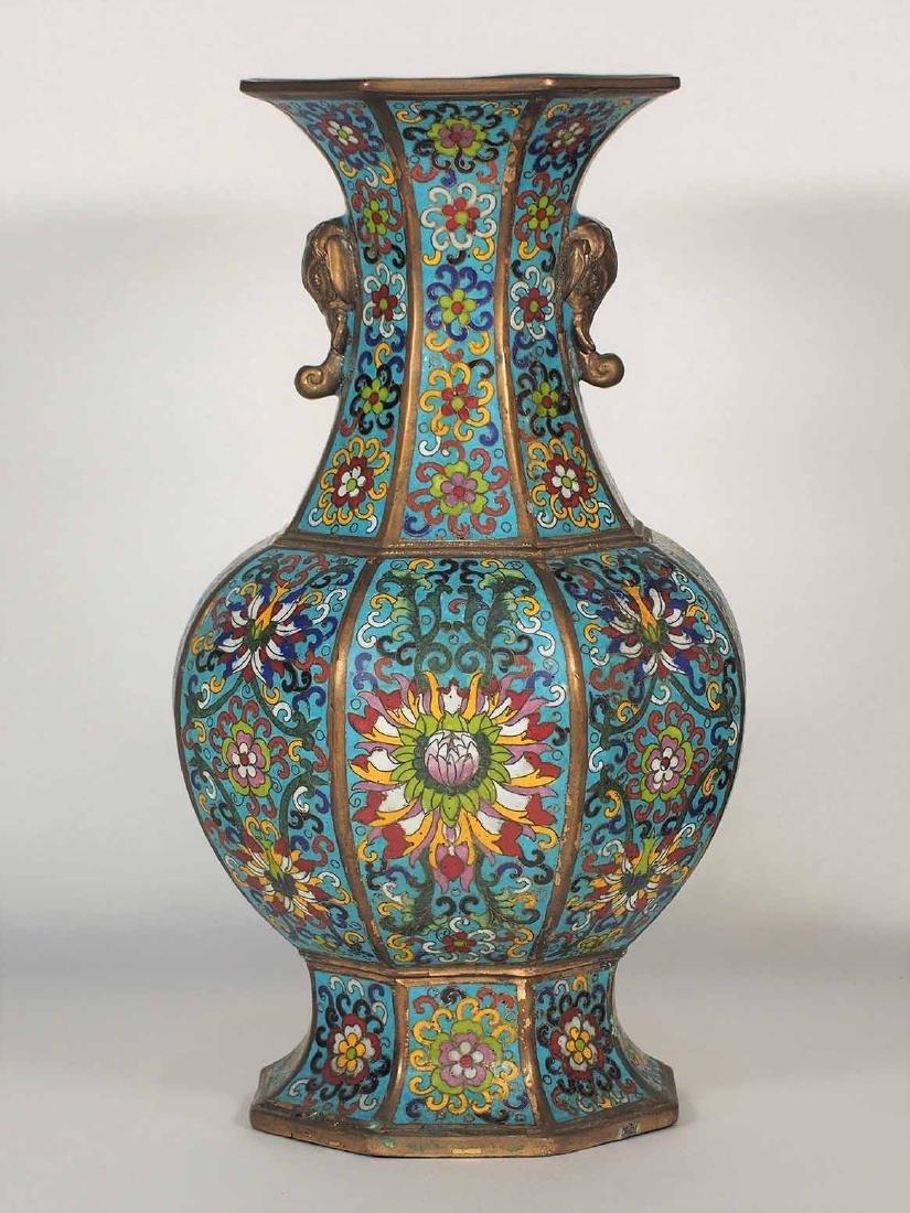Large Octagonal Cloisonne Vase, Xuande Mark, late Ming