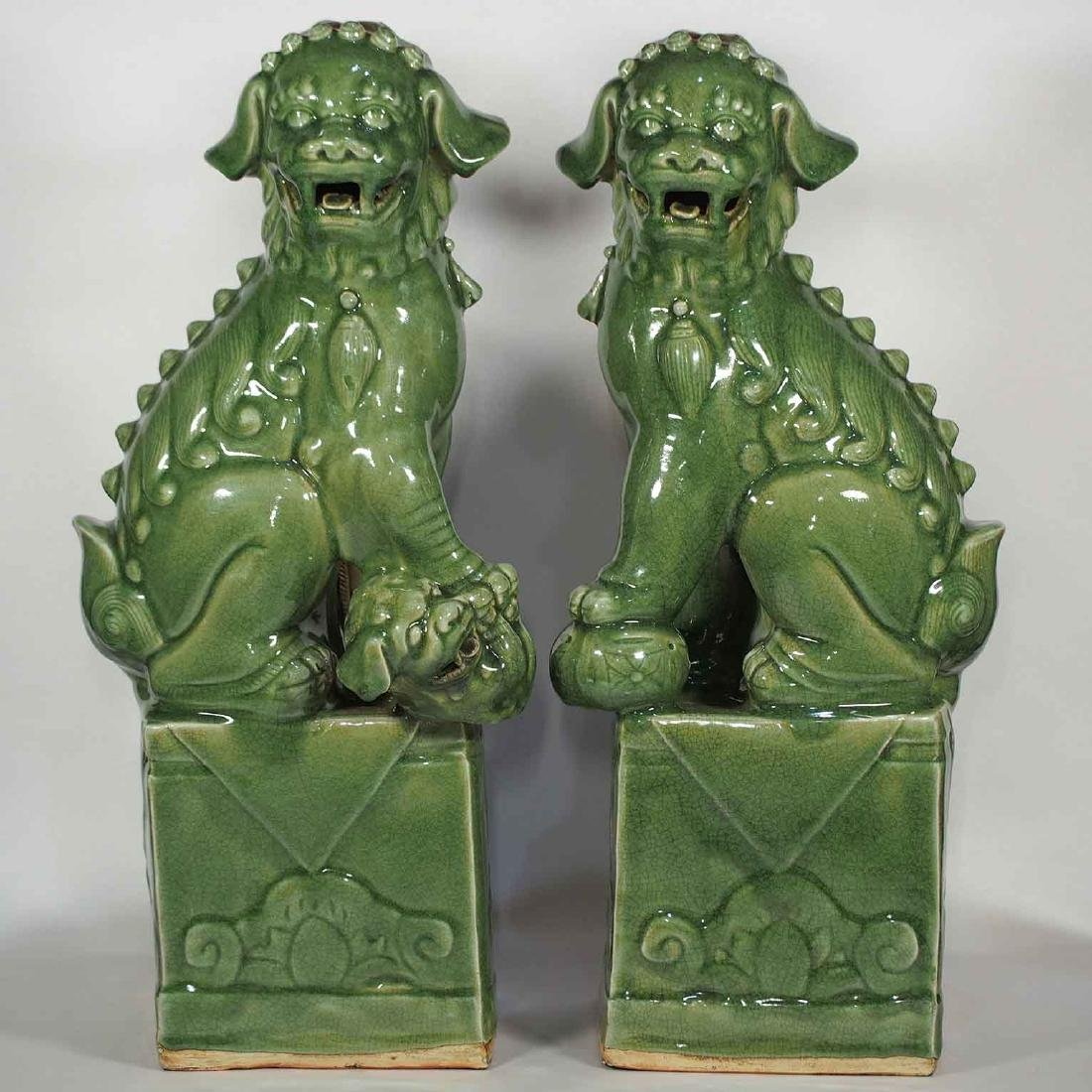 Massive Pair Longquan Foo-Lions, Yuan-early Ming