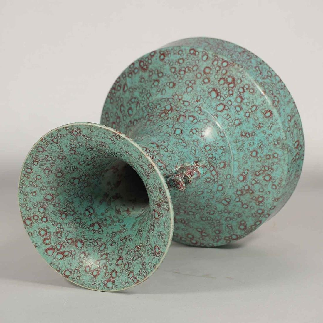 Robin Egg Vase with Dragon Handles, Qianlong Mark, late - 4
