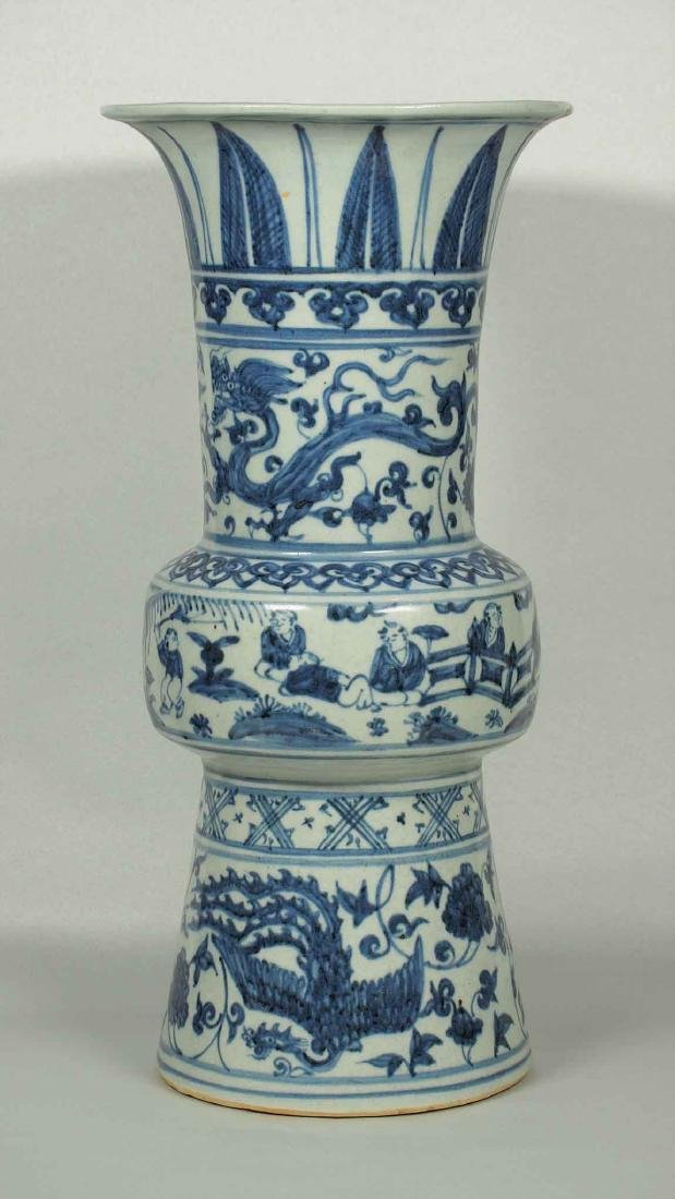 Gu-form Vase with Figures, Dragon and Phoenix,
