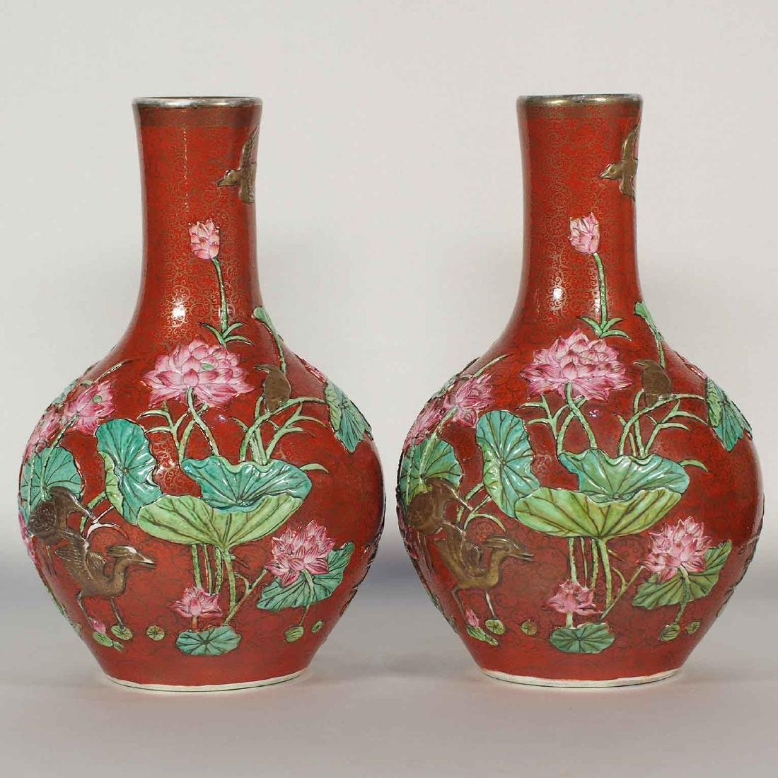 Vases with Gilt Guri and Molded Design, Qianlong Mark,