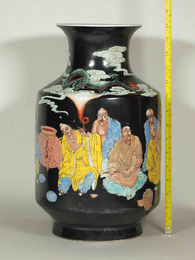 Large Vase with 18 Arhats Design, Daoguang Mark, late - 10